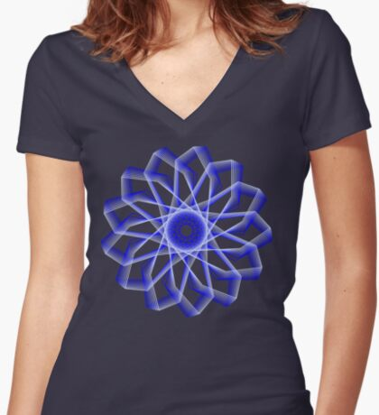 Blue Lines Abstract Flower Fitted V-Neck T-Shirt