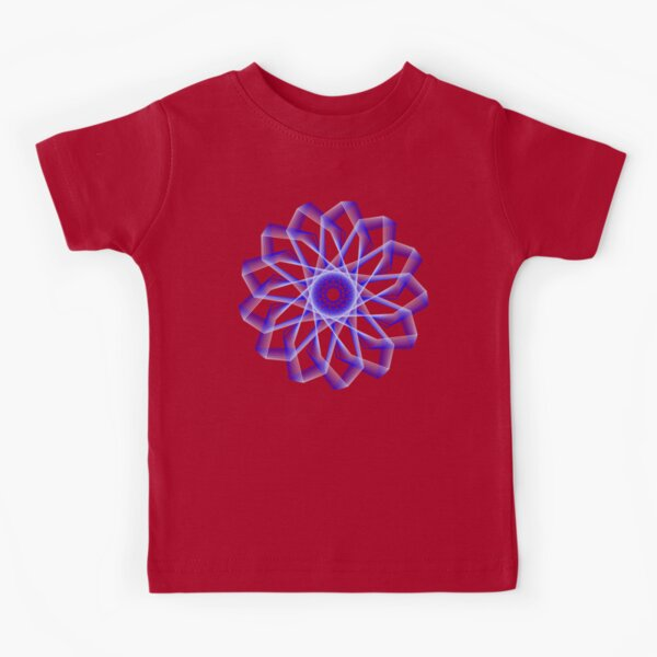 Blue Lines Abstract Geometric Flower Kids T-Shirt