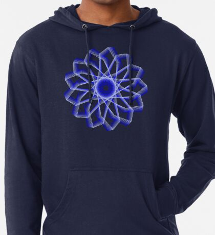 Blue Lines Abstract Flower Lightweight Hoodie