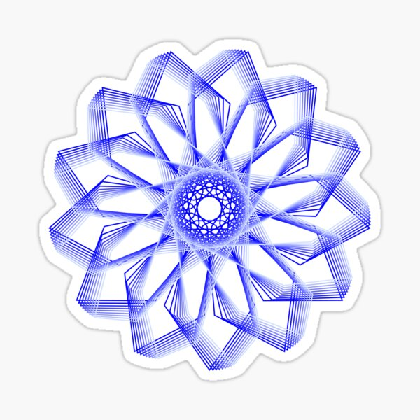 Blue Lines Abstract Geometric Flower Sticker