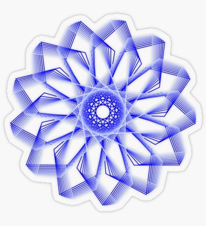 Blue Lines Abstract Flower Transparent Sticker
