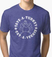 Save-A-Turkey Eat-A-Veggie Thanksgiving T-shirt for Vegans (Light Print) Tri-blend T-Shirt