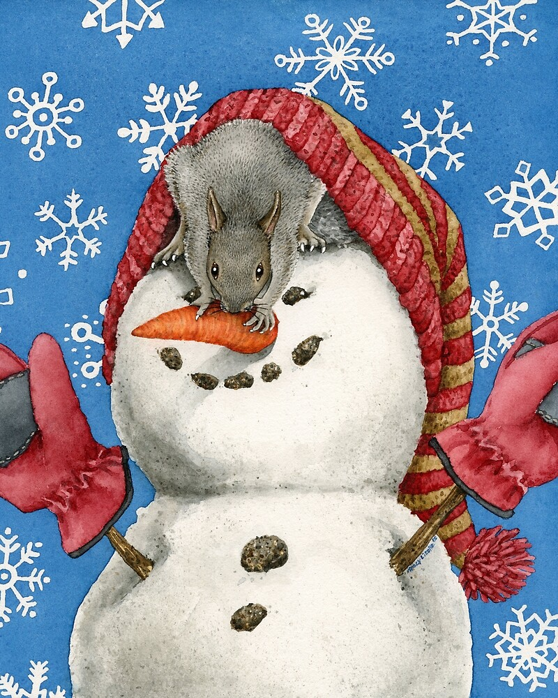 Snowman with Squirrel by Tracy Lizotte