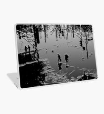 Against the cold Black and White Laptop Skin