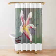 Red Star Plumeria with Wisps of Bamboo Shower Curtain