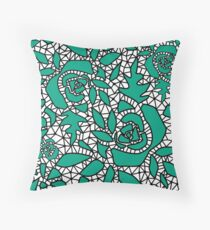 Black green lace Throw Pillow
