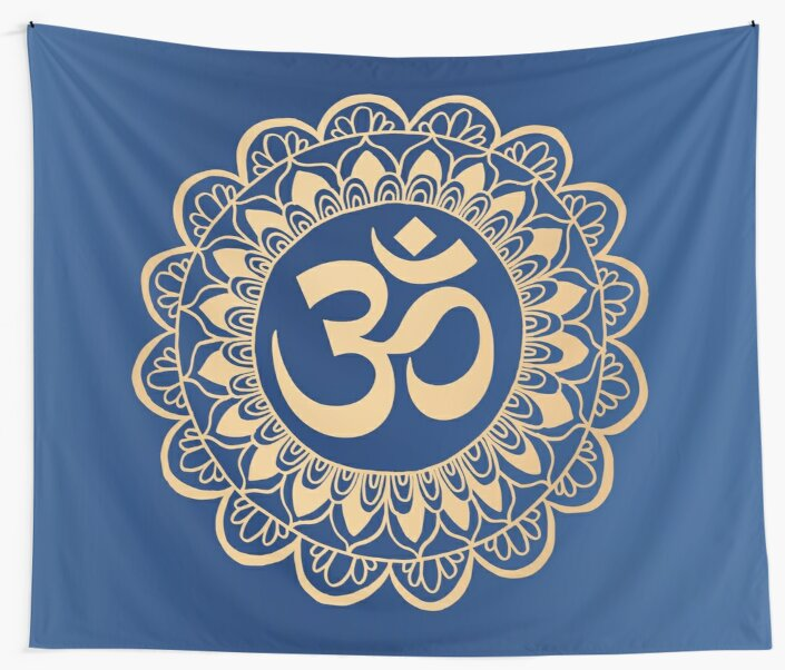 Blue and Gold Ohm Mandala by julieerindesign