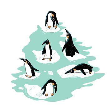 Penguins on Ice - Blue by Theysaurus
