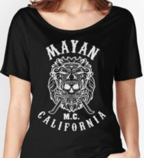 Mayan Motorcycle Club T-shirt Vintage Skull with California Women's Relaxed Fit T-Shirt