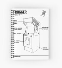frogger arcade 8 bit graphic, retro frogger, ms pacman, 80s arcade, 80s video games, best arcade shirts Spiral Notebook