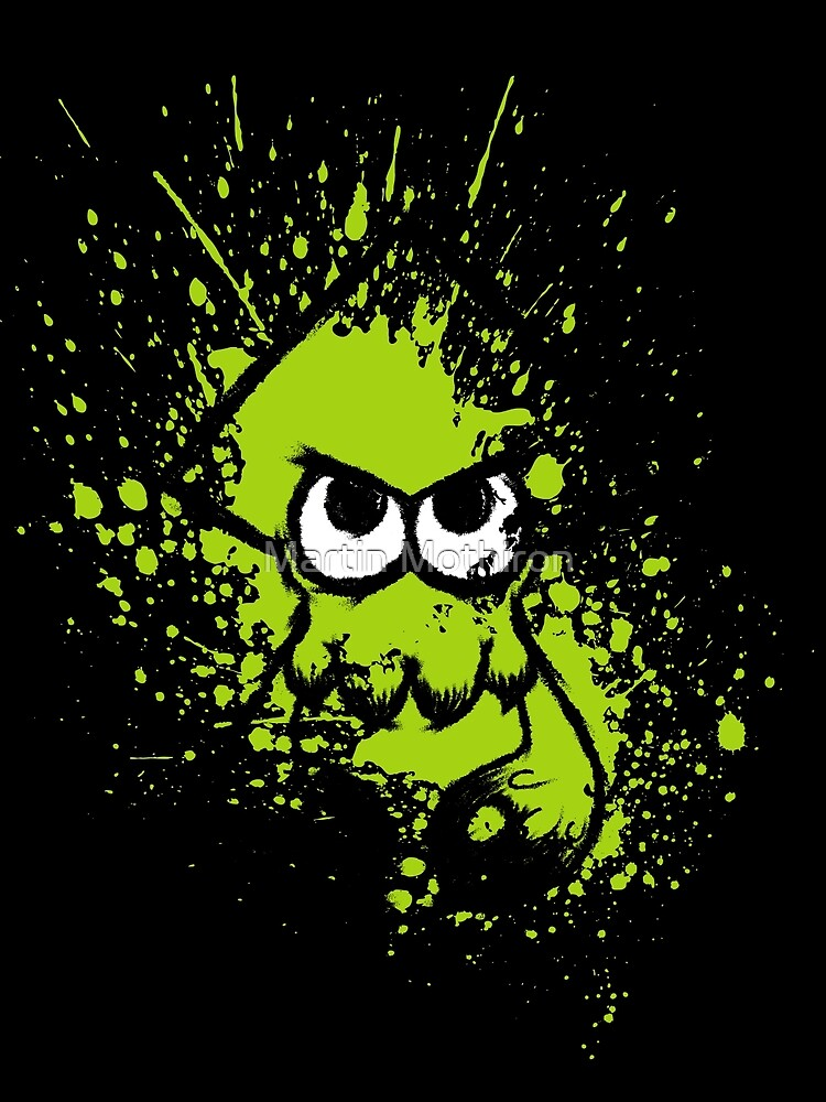 Splatoon Black Squid with Blank Eyes on Green Splatter Mask by Martin Mothiron