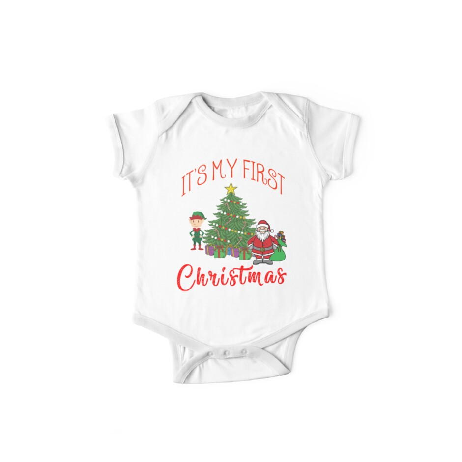 c8ce1843ecc3 It's My First Christmas Baby Child 1st Xmas Gift Idea T-Shirt