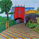 436 - BRIDGE HOUSE, PORTMEIRION - DAVE EDWARDS - COLOURED PENCILS & FINELINERS by BLYTHART