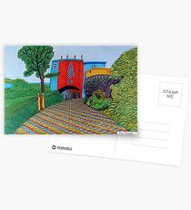 436 - BRIDGE HOUSE, PORTMEIRION - DAVE EDWARDS - COLOURED PENCILS & FINELINERS Postcards