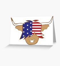 Highland cow USA flag blue red and white coo Greeting Card