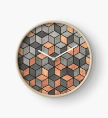 Concrete and Copper Cubes Clock