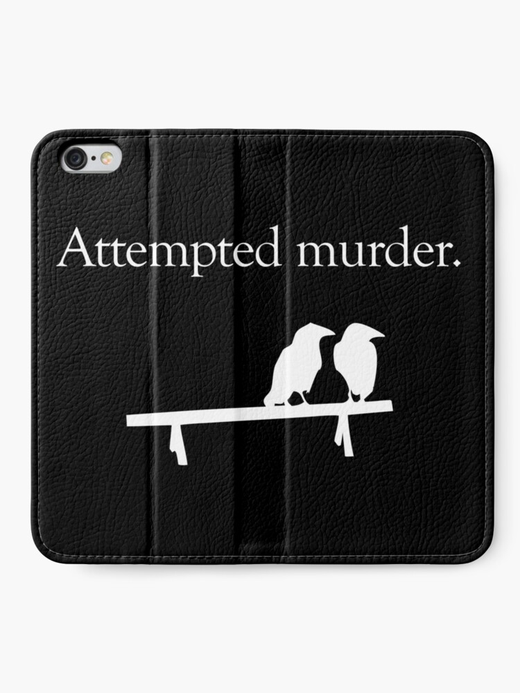 Alternate view of Attempted Murder (White design) iPhone Wallet