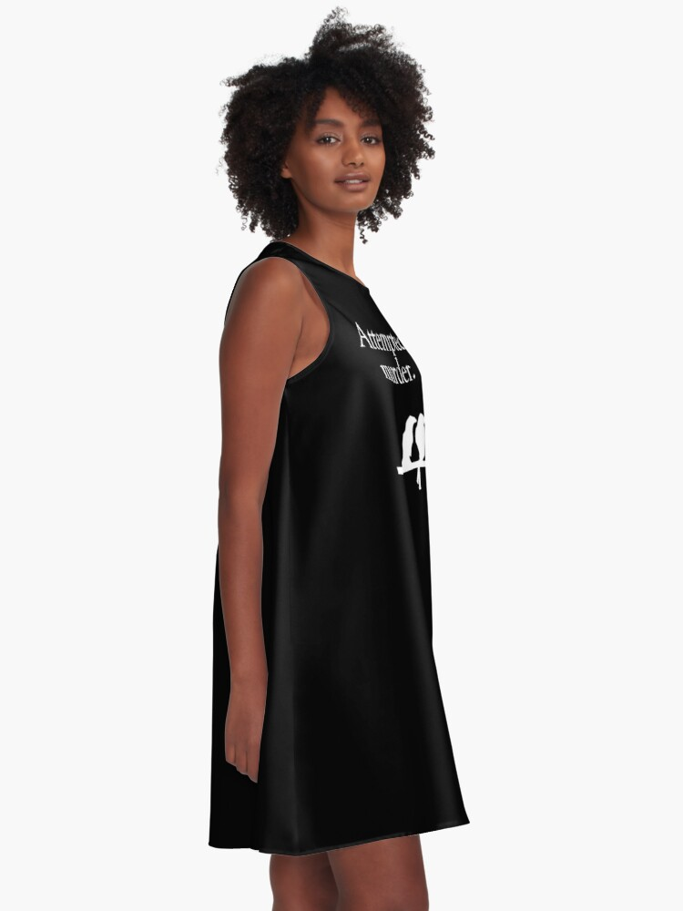 Alternate view of Attempted Murder (White design) A-Line Dress