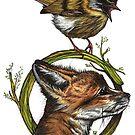 Fuchs und Sommergoldhähnchen von camarocaro