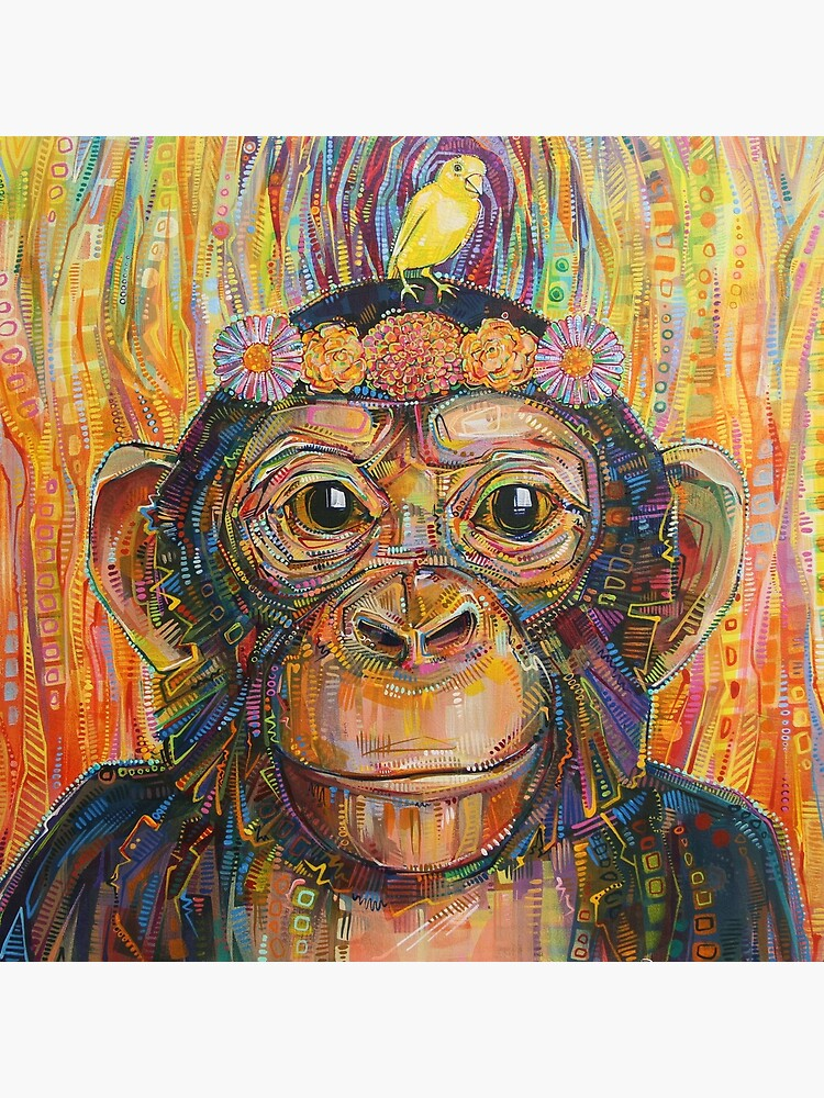 Intuition (The chimpanzee and the canary) painting - 2016 by gwennpaints