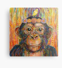 Intuition (The chimpanzee and the canary) painting - 2016 Metal Print