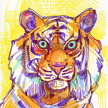 Tiger drawing - 2011 by gwennpaints