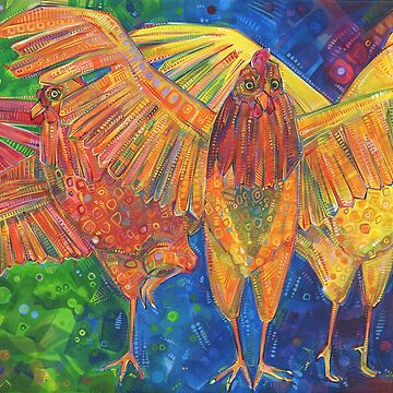 Chicken confidence (Making a safe space) painting - 2016 by gwennpaints