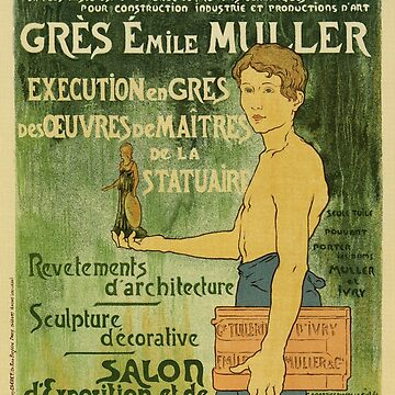 Vintage French advertising for Emile Muller famous sculptor by aapshop