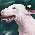A Painting of a Bull Terrier with Its Tongue Out by ibadishi