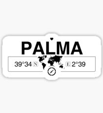Palma Balearic Islands with World Map GPS Coordinates and Compass    Sticker