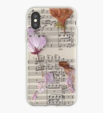 Pressed flowers and music notes iPhone Case