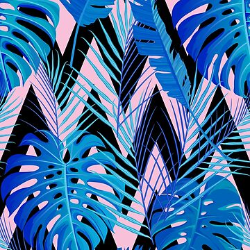 Hawaiian Blue Palms & Chevron Stripes by adametzb