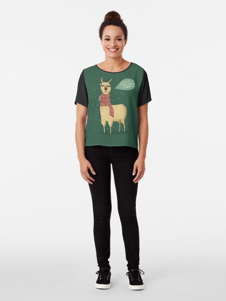 Alternate view of Christmas holiday Llama Chiffon Top
