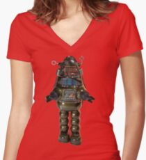 Billiken Shokai Tin Wind Up Robby the Robot Women's Fitted V-Neck T-Shirt