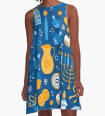 Happy Hanukkah Pattern A-Line Dress