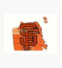 San Francisco Giants Map Art Print