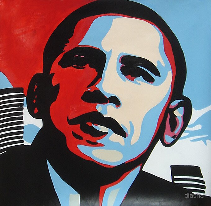 """Professional Screeding Pop And Painting Designs Works: """"POP Art For Obama Portrait, Acylics On Canvas, Framed Art"""