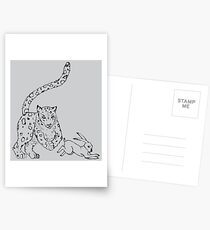 The Chase - Snow Leopard Sketch Postcards