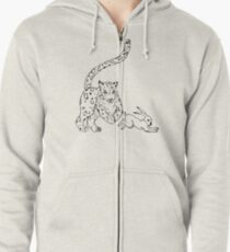 The Chase - Snow Leopard Sketch Zipped Hoodie