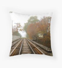 Autumn By The Tracks Throw Pillow