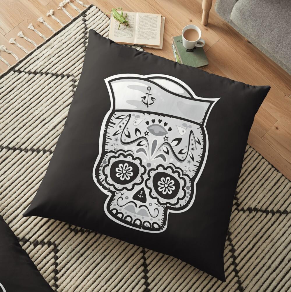 Marinero muerto sugar skull Floor Pillow