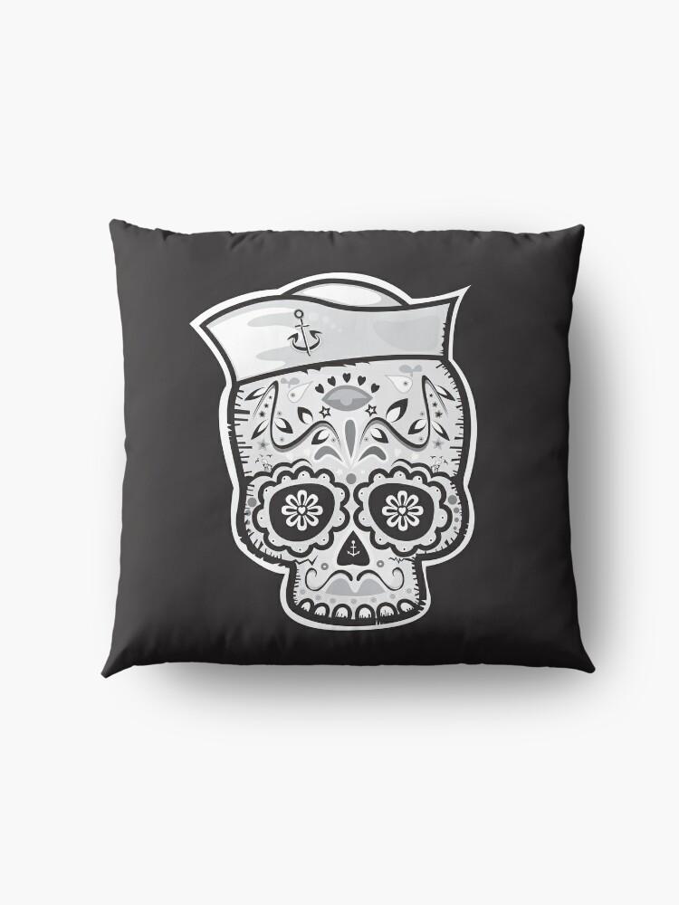 Alternate view of Marinero muerto sugar skull Floor Pillow