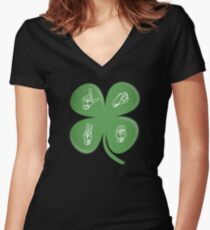 ASL LOVE Four Leaf Clover American Sign Language Women's Fitted V-Neck T-Shirt
