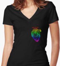 Rainbow Heart Women's Fitted V-Neck T-Shirt