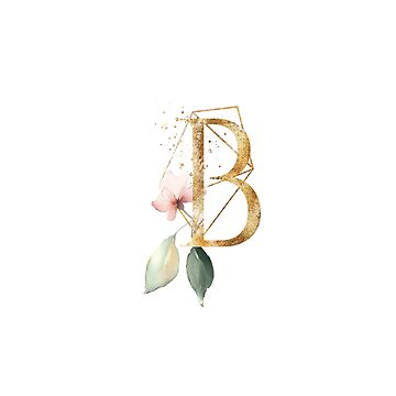Golden ethereal floral monogram - B by peggieprints