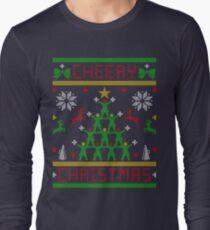 Cheery Christmas Cheerleader Cheering Ugly Christmas Sweater Long Sleeve T-Shirt
