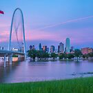 Pink Sunset Over the Flooded Trinity River, Dallas by josephhaubert