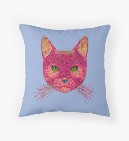 Rose Hungry Cat Throw Pillow