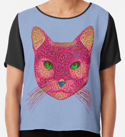 Rose Hungry Cat Chiffon Top