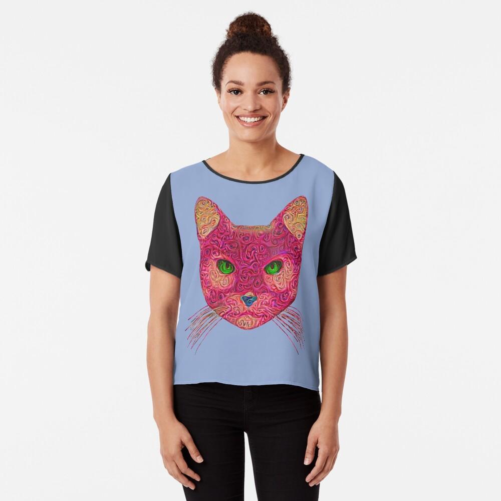 Rose Hungry Cat Chiffon Top